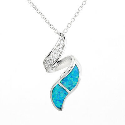 925 Sterling Silver Opal Ribbon Pendant, Chain sold separately