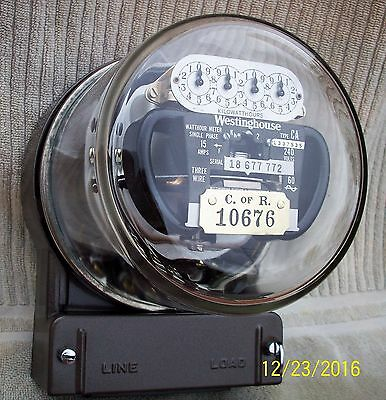 Vintage Westinghouse Electric Meter Type CA 15 Amp 240 Volts Met.Bronze WORKS
