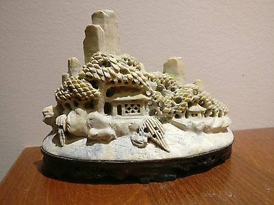 Chinese Hand Carved Soap Stone Scenery Landscape