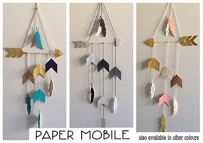 Paper Card Baby Nursery Wall Hanging Mobile Tribal Boho Arrow Feathers Chevron
