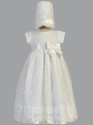 Baby Girls White Organza Long Dress Gown Christening Baptism Dedication Kendall