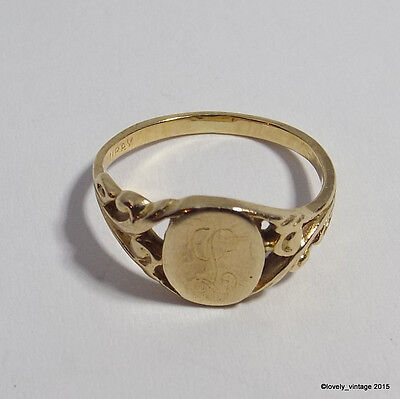 """Victorian / Art Nouveau 10K Gold Initial """"L"""" Signet Ring - Size 4.5 - by LURAY"""