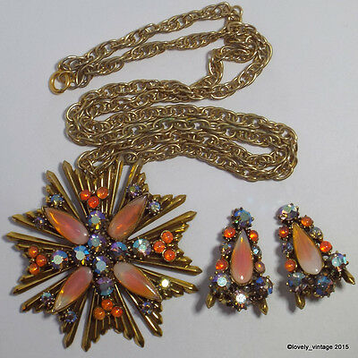 1950's Signed Florenza Maltese Cross Necklace & Earrings with Peach & AB Stones