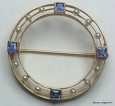 "Vintage 14K Gold Clear Blue Sapphires & Seed Pearls Brooch - 1.1"" (3cm) - 4.1g"