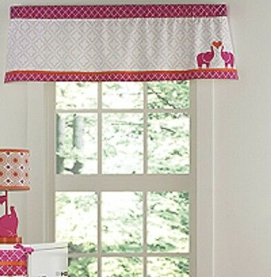 Happy Chic Baby Jonathan Adler Party Elephant Window Valance, Pink