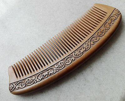 """6.5"""" Good Carved Pattern Half-Moon Old Peach Wood Fine-toothed Massage Comb"""