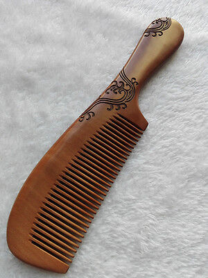 """8.5"""" Good Carved Pattern Old Peach Wood Handheld Fine-toothed Massage Comb"""