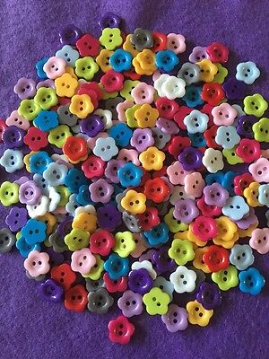 Brand New Selection Of 50 2-hole Bright Coloured Resin Flower Buttons - 12mm