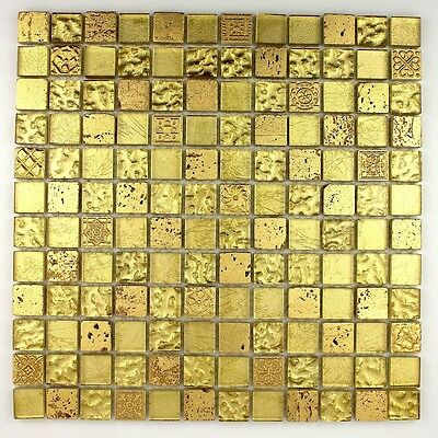 Carrelage mosaique verre et pierre METALLIC GOLD