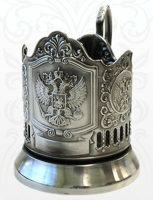 Tea cup glass holder, Russian coat of arms, plated with blackening