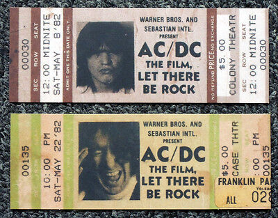 Ac/dc Repro 1982 Let There Be Rock Film Movie Tickets X2 . Bon Scott