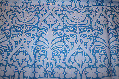 PUL blue damask 100% Cotton fabric nappy cut for nappies & wetbags 52x54 cm