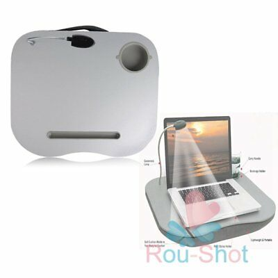 Portable Cushioned Laptop Desk Table with LED Lamp Light Cup Holder【AU】