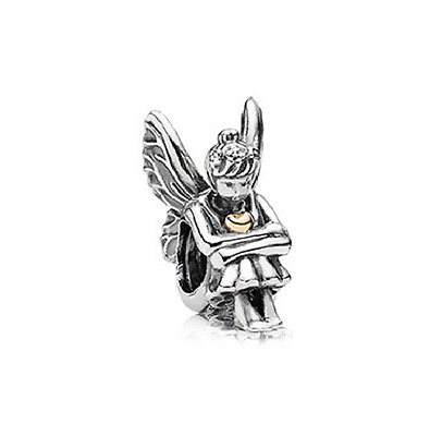 Charms Fee Assise Tenant 1 Coeur Argent 925 Bracelet Europeen Clochette Disney