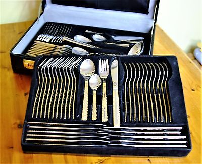 Stylish 72 Piece Prima Cutlery Set. Stainless Steel 18/10 with Gold Decoration.