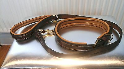 Real Leather Padded Dog Collar and Lead Set Brown and Tan