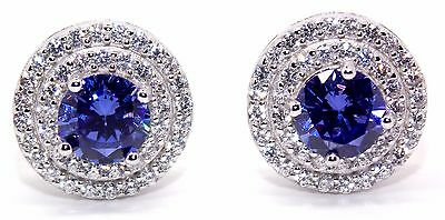 Sterling Silver Tanzanite And Diamond 3.12ct Stud Earring (925)