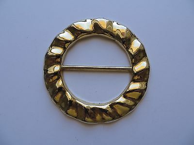 1970s Vintage Unisex Anodised Gold-tone Ribbed Rim Metal Belt Buckle-7cm