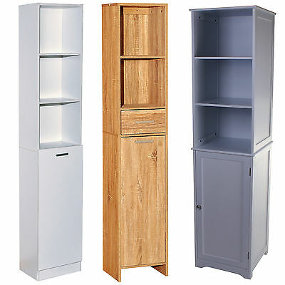 Tall Wooden Storage Cabinet Unit Bathroom Cupboard Shelving Shelves Tall Boy