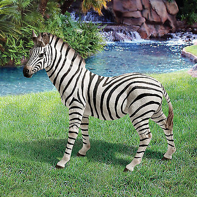 "Design Toscano 21"" Realistic Hand Painted Zora The Black And White Zebra Statue"