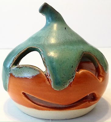 Lantern Hill Pottery Pumpkin Jack O Lantern Tealight Candle Holder Seagrove NC