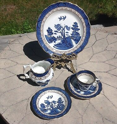VINTAGE BOOTHS REAL OLD WILLOW ROYAL DOULTON ENGLAND Plate, Creamer, Tea Cup Set