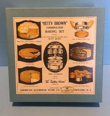 Antique Betty Brown Aluminum Baking Complete Set Replica 1920's Kitchen Images