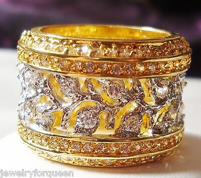 Stunning Bold European CZ 18K Two Tone Gold GP Eternity Band Ring Size 6