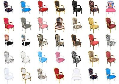 France Baroque Style Lady Chair With Armrests  - In Different Colours