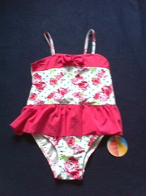BNWT Girls Age 4-5 Years, Pink Multi Swimming Costume With Skirt Detail