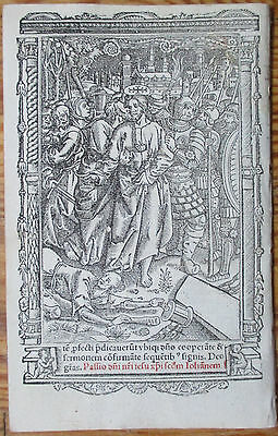 Book of Hours Leaf Hardouin Woodcut Border Miniature Jesus Gethsemane - 1510