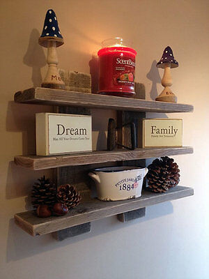 Wall Mounted Wood Rustic Reclaimed 3 Shelf / Shelves Display Unit Shabby Chic