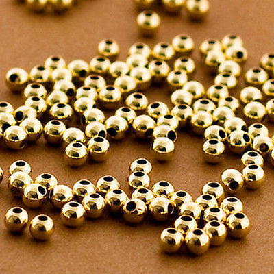 New 100% Genuine 14K Solid Gold 3Mm Round Beads 5 Pieces Not Gold Plated