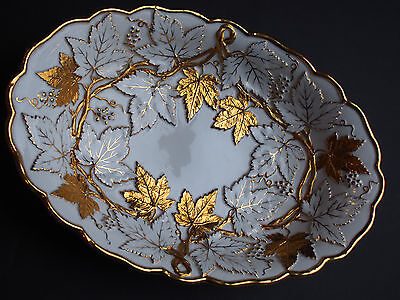 Antique Meissen Gold Leaves Embossed Relief Grape Vine Bowl Cabinet Plate 19th c