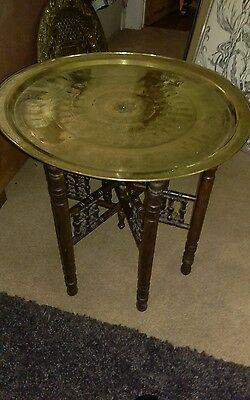 Large antique  middle eastern,brass benares table with hieroglyphics,