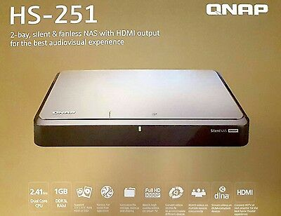 QNAP HS-251 2-bay, 1GB RAM, silent & fanless NAS with HDMI output, 4TB (1+3)