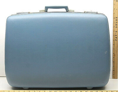 "Vintage Fliteway Hard Case Travel Suitcase Blue 21"" Overnight Locked Luggage+Key"