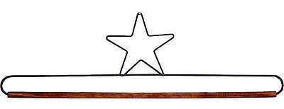 STAR 16 INCH QUILT HANGER, With Wood Dowel From Ackfeld Manufacturing NEW