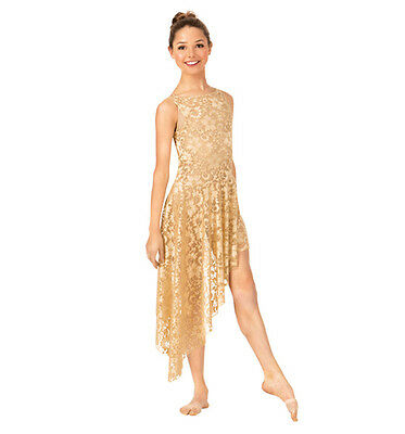 Double Platinum Adult size large gold  lacy overdress  performance dress N7261