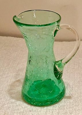 Vintage Miniature  Green Crackle Glass Pitcher