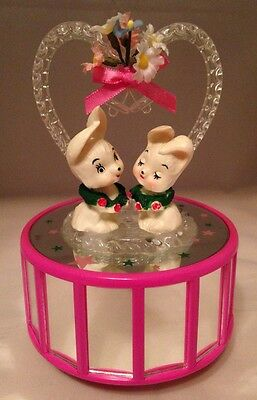 Bunnies In Love- Mirror Stage Spinning Musical Box -Colour Changing- Valentine