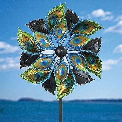 Bits and Pieces - Peacock Feather Wind Spinner - 14 Inch Decorative Kinetic Wind