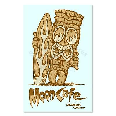 Mooneyes Moon Cafe Tiki Aufkleber Hawaii Surf Hot Rodding Beach Aloha