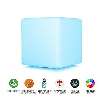 """Security 15cm/6"""" Rechargeable LED Cube Light Cordless with Remote Control Mood"""