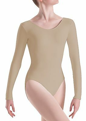 Tan Nude * Girls* Kids Cotton Ballet Dancewear Gym Long* Sleeve Leotard Bodysuit