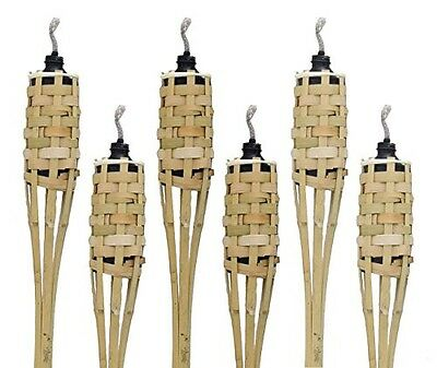 Island Tiki Torch Bundle (12 Pack) WITH CAPS Extra Long 5FT/60IN Bamboo Torches