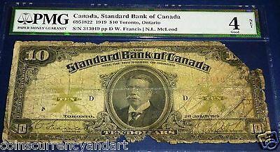 Standard  Bank Of Canada - 1919  $10- PMG 4