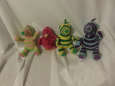 """set of 4 7"""" Fimbo, Florrie and Baby Pom and bessie bird the fimbles plush dolls"""