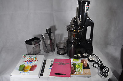 Retro Cold Press Juicer Black with Two free Juice diet Books