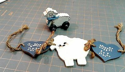 Vintage Wooden Sheep on Wheels and Wooden Heart Lamb Twine Swag Crafty Primitive